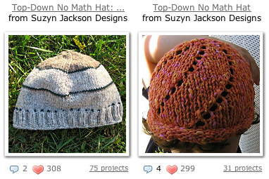 Top-down No Math Hats on Ravelry